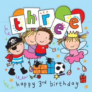 Age 3 Sparkly Birthday Card for Children, Party Time TW427